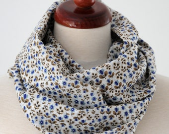 Scarf scarf loop Cotton Jersey GILA Millefleur flowers white blue infinity loop cowl scarf