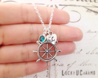 Ship Wheel Necklace with Initial and Birthstone, Helm Necklace, Nautical Necklace, Best Friends Jewelry, Nautical Jewelry,Ocean Sea Jewelry