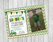 Tractor Birthday Party Invitation/Green Yellow Theme Party/Tractor Birthday/Tractor Picture Birthday Invitation/Tractor Design 102/Farm