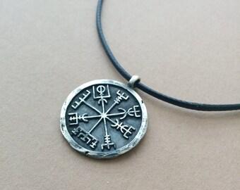 Silver Viking Norse  Vegvisir Compass  Pendant Jewelry