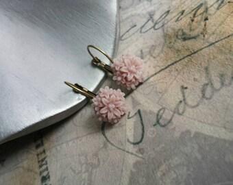 Vintage Chrysanthemum Dusty Rose French Wire Earrings