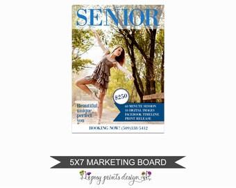 Senior Mini Session Marketing Board - Template for Photographers - Digital Photoshop Template - 5x7 Photography Design - GCMS04