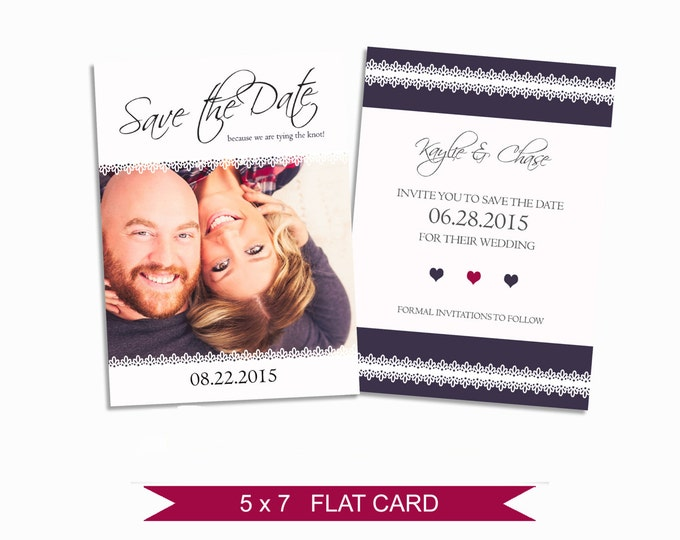 Save the Date Template - 5x7 Digital Photography Photoshop Files - Template for Photographers - EM05 - INSTANT DOWNLOAD