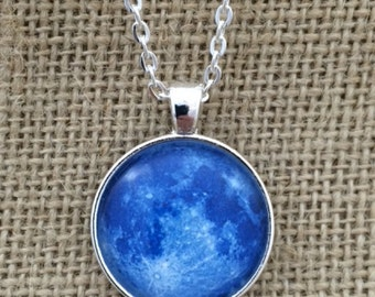 Blue Moon Glass Pendant Necklace with Chain