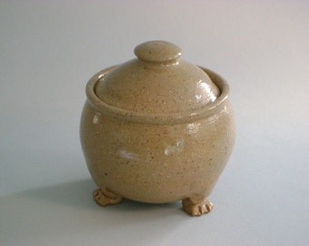 Small Stoneware Lidded Jar  With Feet