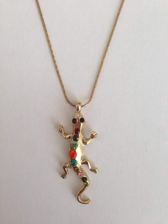 gold lizard necklace with crystals