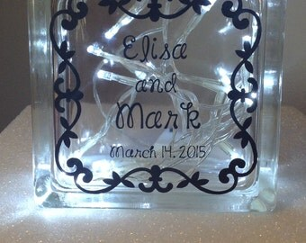 Personalized Glass Block with Battery Operated LED Lights; Wedding or Anniversary Gift; Couple Gift; granchildren; quote