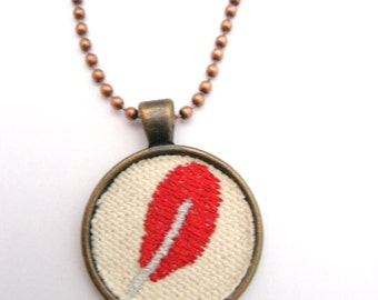 Red Feather  Necklace Embroidered Necklace Embroidered Jewelry  Feather Necklace