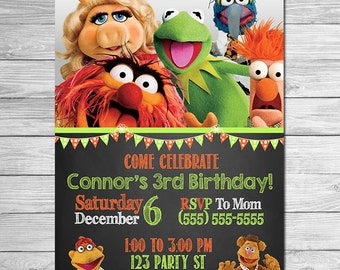 Muppets Movie Invitation Chalkboard - Muppets Birthday Invitation - Muppets Most Wanted Invitation - Muppets Printables - Muppets Favors