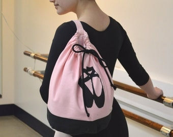 Canvas Ballet Dance Drawstring Bag