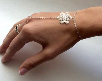 Delicate Flower Hand Bracelet Flower Slave Bracelet Flower Hand Chain Flower Jewelry Silver Hand Bracelet Bohemian Jewelry Boho Bracelet