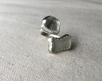 Silver and glass ring, industrial jewelry, modern jewelry, sterling silver adjustable ring