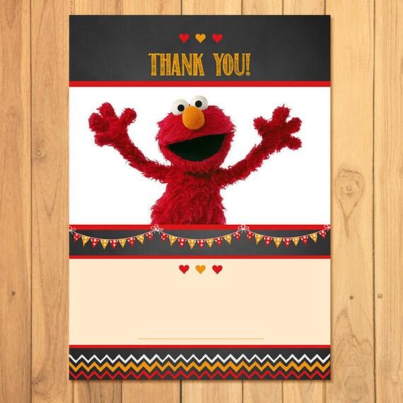 Elmo Thank You Card Chalkboard * Elmo Birthday * Elmo Printables * Elmo Favors