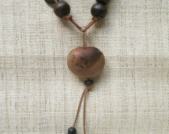 Natural dark seed necklace