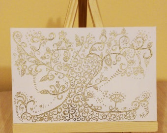 Tree: Blooming (Unique Hand-drawn Henna Art, Original Painting on Canvas)