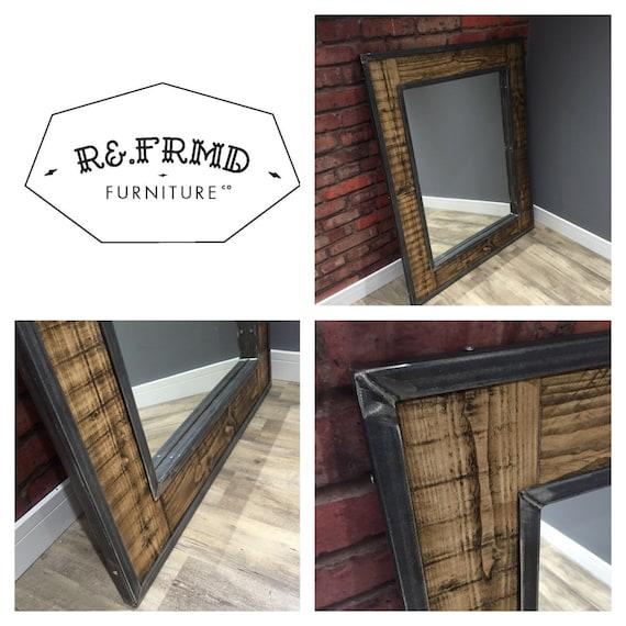 Industrial Floor Mirror: Mild Steel & Reclaimed Wood Framed Industrial Floor Mirror