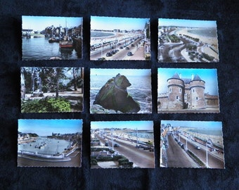 Lot of 10 small Photos for real on the Bay of LA BAULE and its surroundings in France. Drawing Mat colorized. LADYCAP Paris 1960