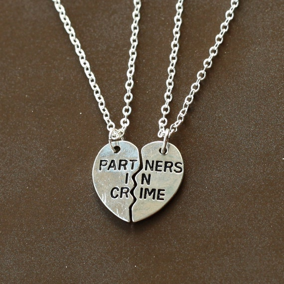 silver partners in crime necklace best friends by