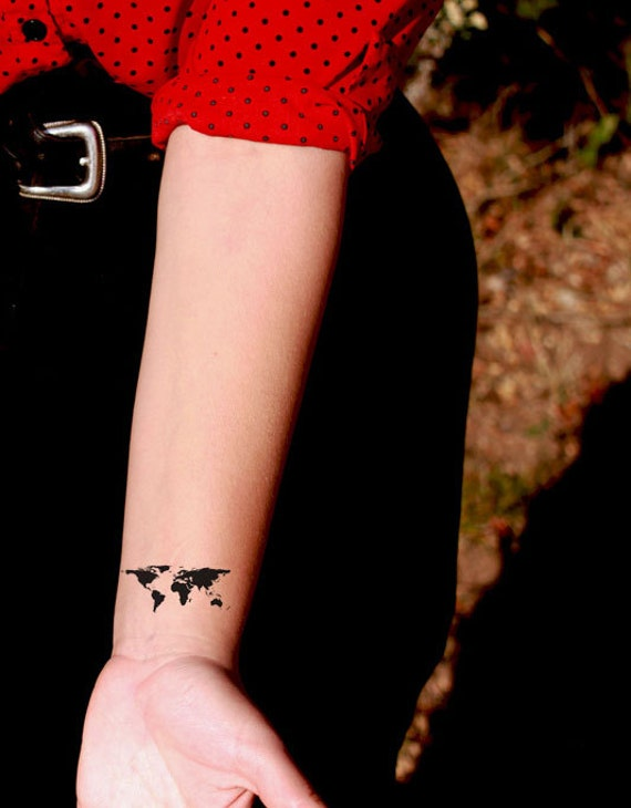 Black world map temporary tattoo somaarttattoo temporary like this item gumiabroncs Image collections