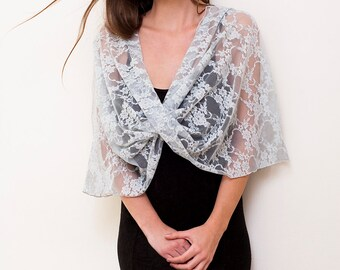Plus Size Shawl, Silver Lace Wrap Shawl, Convertible Top- Shawl, Shrug, Crisscross And Infinity Scarf. Versatile Shawl, Silver Lace Bolero