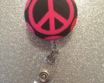 Peace Sign Retractable Badge Holder. ID Holder. Badge Button.