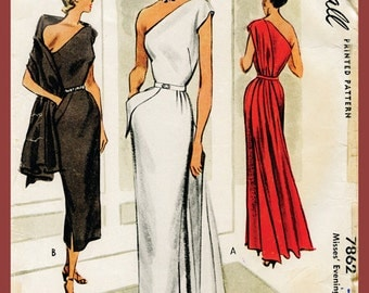 1940s 1950s vintage gown sewing pattern evening cocktail dress one shoulder paneled drape bust 30 32 34 36 repro English & French