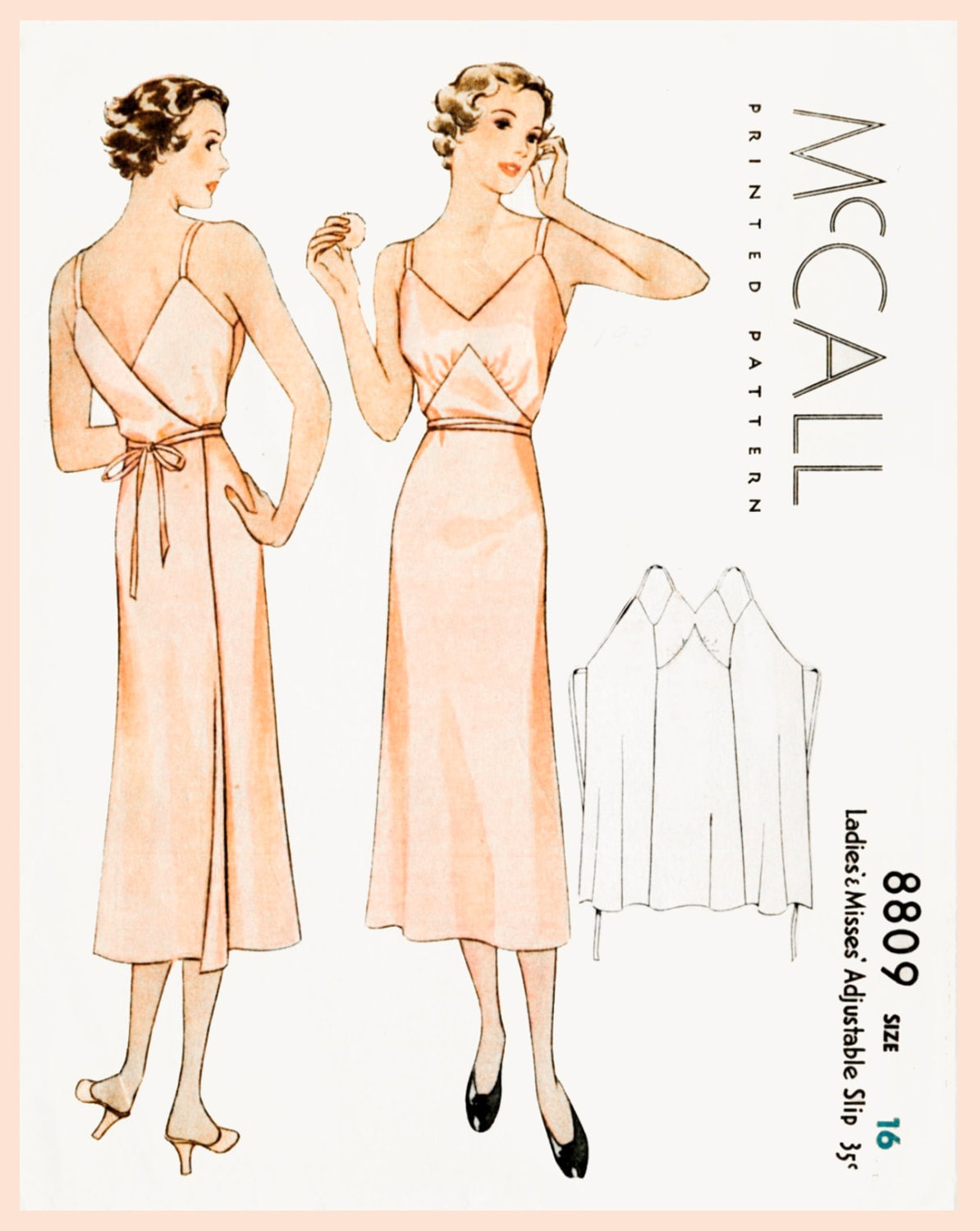 1930s 30s vintage lingerie sewing pattern Art Deco wrap dress