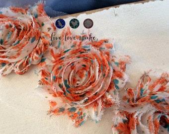"2.5"" Orange-Teal-Turquoise-White-Floral Print-Chiffon-Shabby-flower-trim-Frayed-Shabby Chic-Rosette-Rose-DIY-Headband-Hairband-1/2 yard-yd"