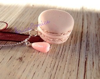 Macaron Necklace-long necklace with Macaron-Paris jewelry-shabby chic necklace-sweet food lovers necklace-Gourmet necklace