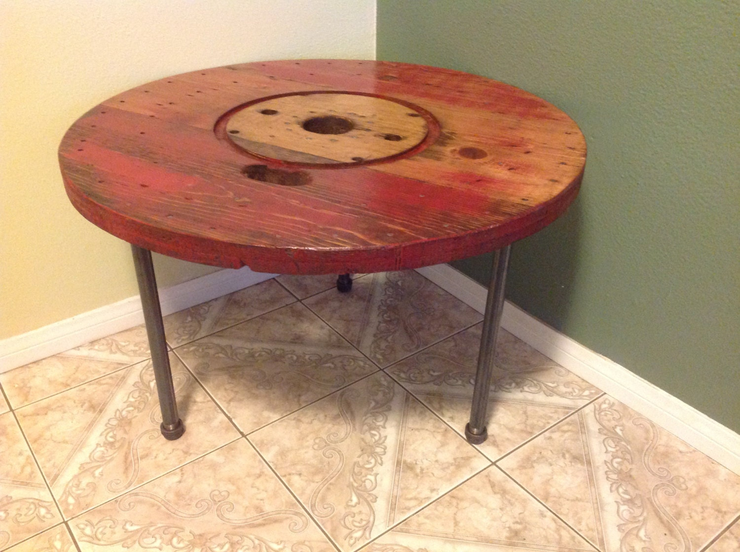 Gorgeous rustic wire spool reclaimed coffee end table zoom geotapseo Image collections