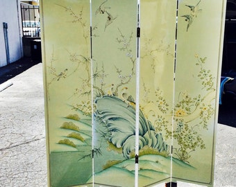 Vintage Four Panel Chinese Hand Painted Screen Room Divider