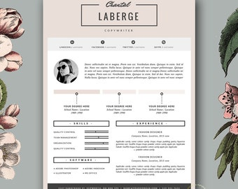 3 page resume template cv template cover letter for ms word and pages stylish resume design fashion template instant download