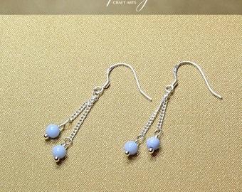 Gemstone Blue Agate earrings, Double dangle Agate earrings, 925 Sterling Silver hooks, Crystal earrings, InfinityCraftArts