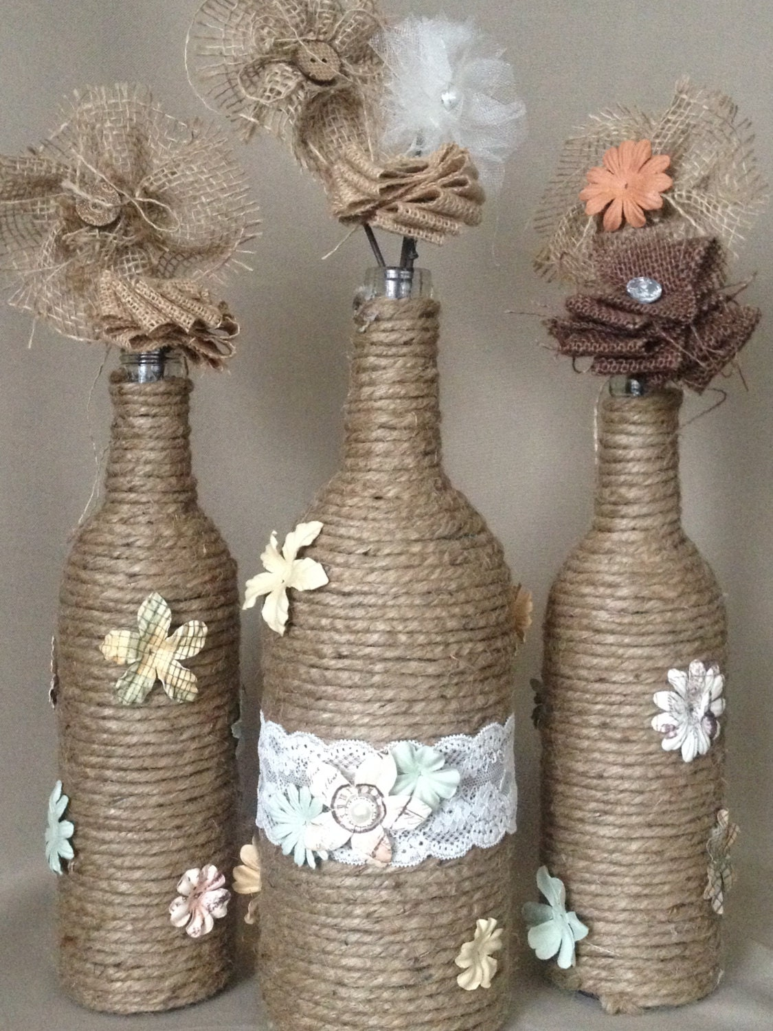 Hanging Twine Wrapped Wine Bottles Lace and Twine Hanging |Twine Covered Wine Bottles