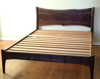 Platform Bed - Walnut - Mid Century Modern - Live Edge - Custom Sizes