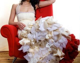 Artistic Bridal Dress, Ombre Silk Wedding Dress,  Alternative Bridal Gown, Red Wedding Dress, Silk Wedding Dress, colorful wedding dress