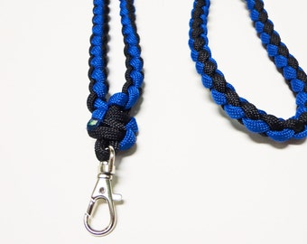 Custom Paracord Key/ID Lanyard - Blue/Black