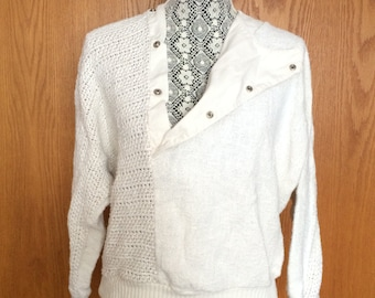 REDUCED! 80s Rad Plunge/Button Up Contemporary Hipster Dolman Sleeve Ivory Sweater