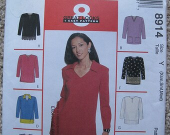 UNCUT Misses Tops - McCall's Sewing Pattern 8914 - Size XSm, Sml, Med