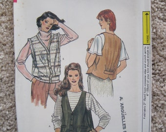 Vintage 1980's UNCUT Vogue Sewing Pattern 8373 Size 10 Misses and Misses Petite Vest RARE Hard to Find