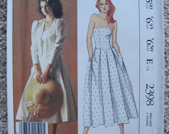 UNCUT Misses Jacket and Dress - Size 8 - McCalls Pattern 2398 - Vintage 1986
