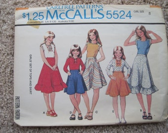 UNCUT Girls Set of Tops and Skirt - Butterick Sewing Pattern 5524 - Vintage 1977