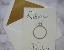 Personalised Engagement Card, Engagement, Greetings Card, Engagement Ring, Weddings, Love