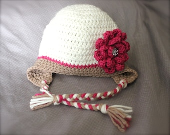Crochet hat with flower for baby, infant, newborn, toddler, newborn prop