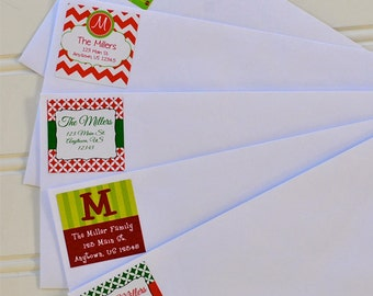 Christmas Return Address Labels - 24 Custom Stickers- Buy 3 Sheets, Get 1 Sheet Free!