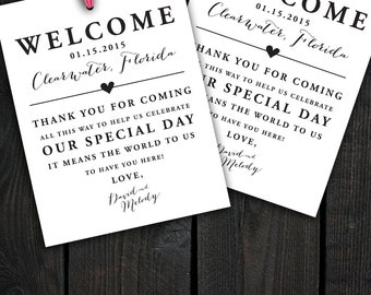 Hotel Gift Bags For Wedding Guests Poem : Welcome Bags, Destination Welcome Bags, Thank You Tags, Customizable