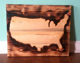 USA reclaimed wood burned wall art - Mitten Made Woodcrafts