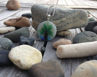 Fused glass palm tree necklace