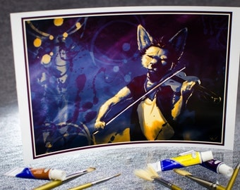Violin ~ Illustration Print - anthro furry, painting