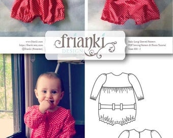 Baby Girl Long Sleeved Romper - PDF Sewing Pattern and Photo Tutorial - Sizes 000 to 2 - Instant Download - Toddler Child Easy Sew Pattern